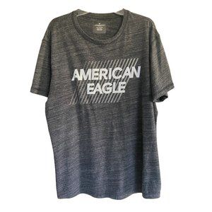 American Eagle Outfitters Marled Gray Short Sleeved Logo Tee T-Shirt Men's XXL